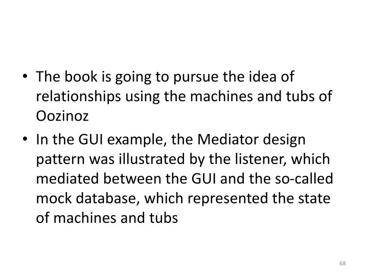 The book is going to pursue the idea of relationships using the machines and tubs of