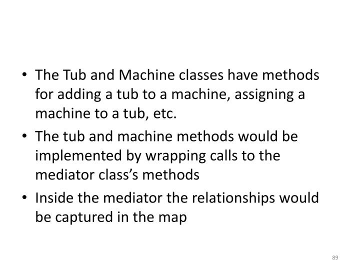The Tub and Machine classes have methods for adding a tub to a machine, assigning a machine to a tub, etc.