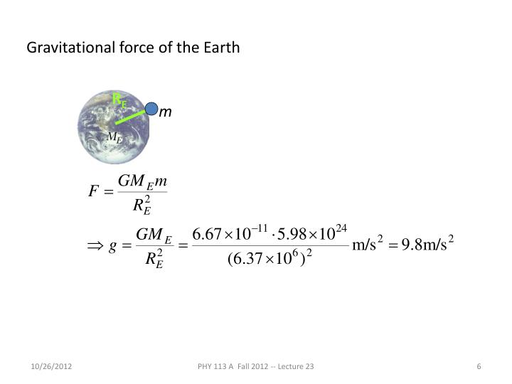 Gravitational force of the Earth