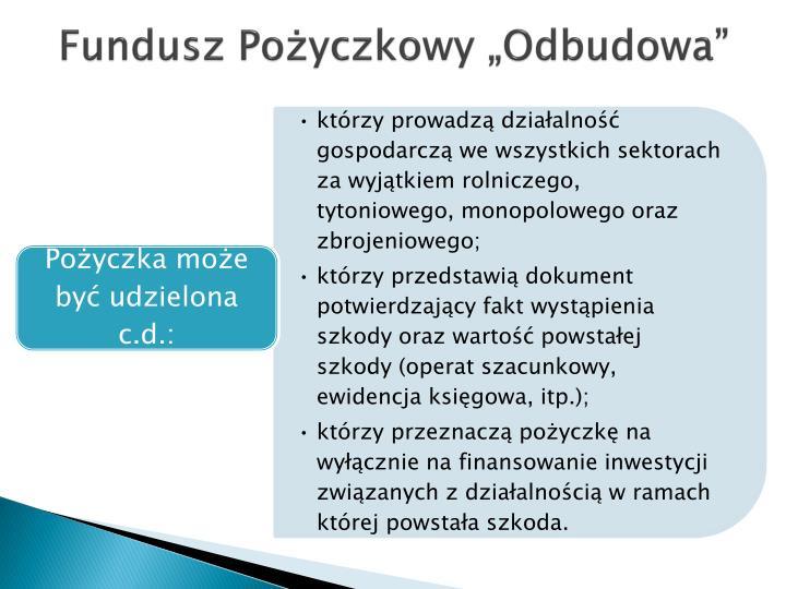"""Fundusz Pożyczkowy """"Odbudowa"""""""