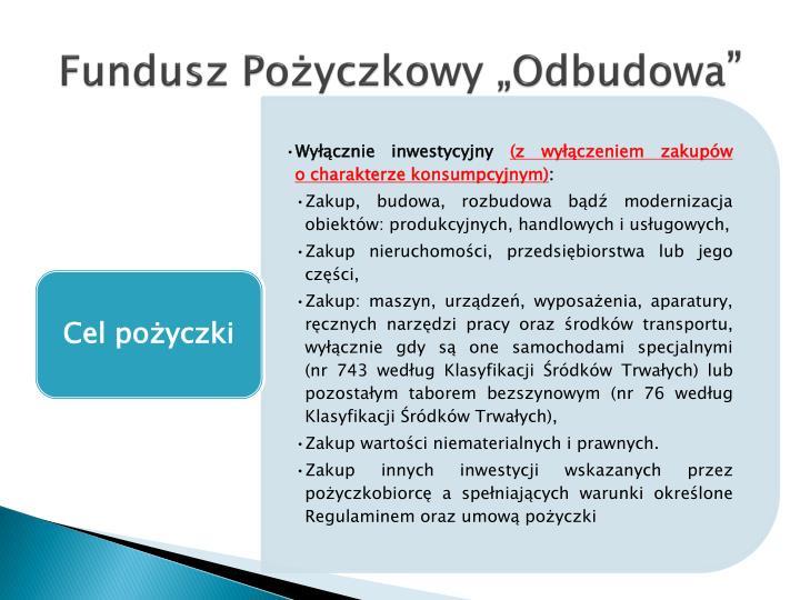 """Fundusz Pożyczkowy """"Odbudowa"""