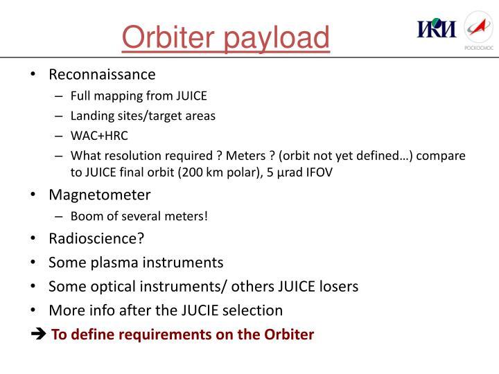 Orbiter payload