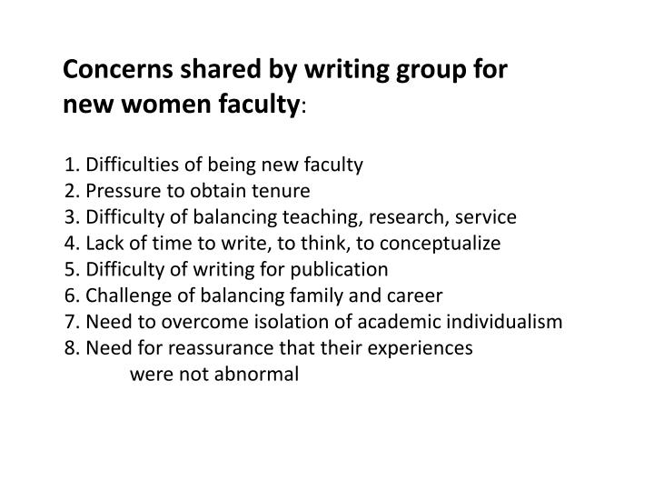 Concerns shared by writing group for