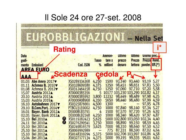 Il Sole 24 ore 27-set. 2008