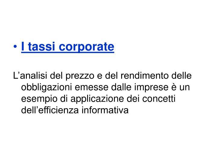 I tassi corporate