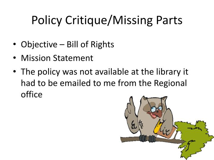 Policy critique missing parts