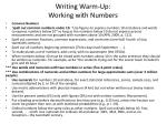 writing warm up working with numbers