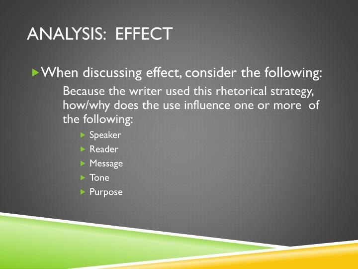 analysis:  effect