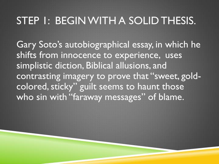 Step 1:  Begin with a solid thesis.