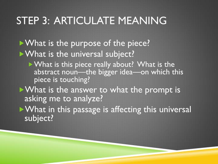 Step 3:  articulate meaning