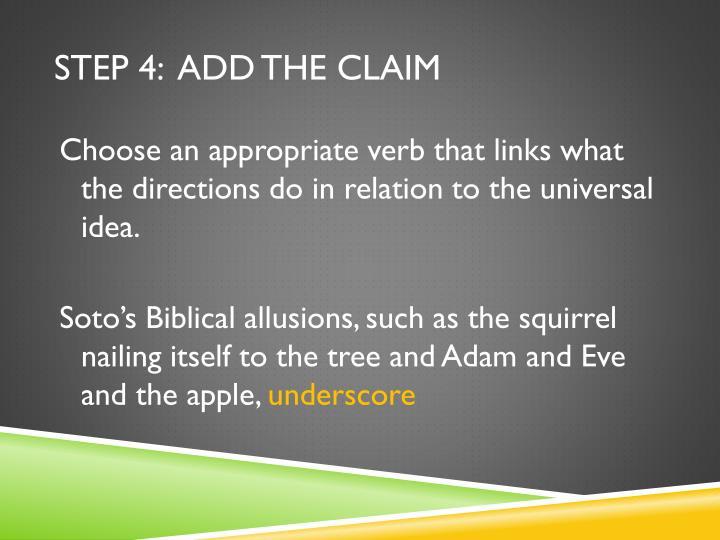 Step 4:  Add the Claim