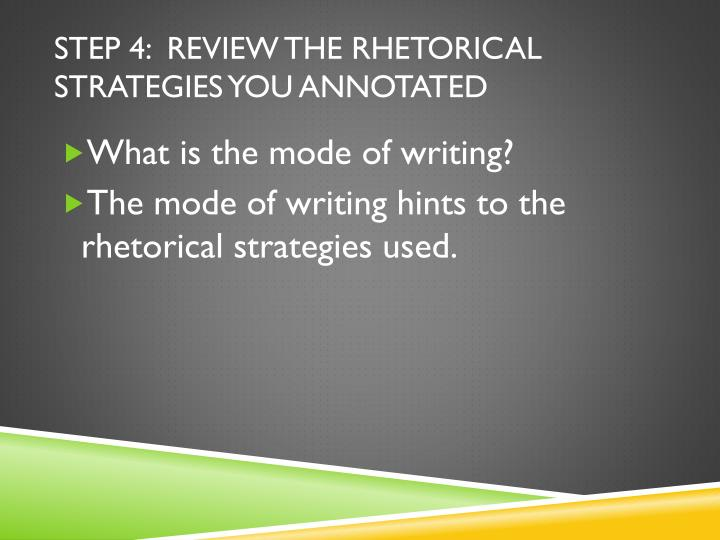 strategies for writing rhetorical essays