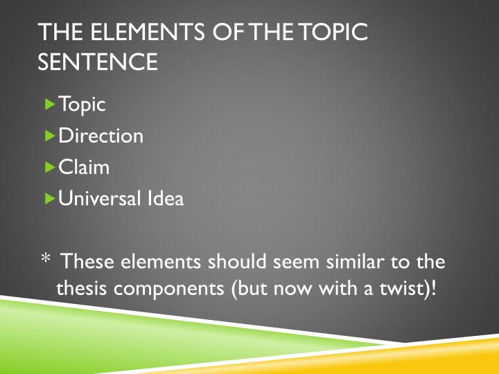 The Elements of the Topic Sentence