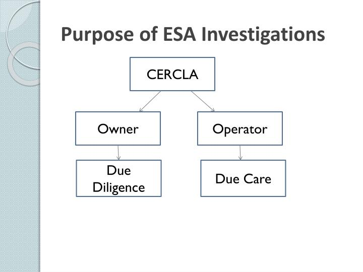 Purpose of esa investigations