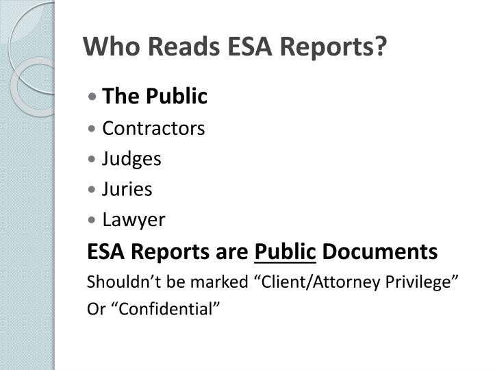 Who Reads ESA Reports?