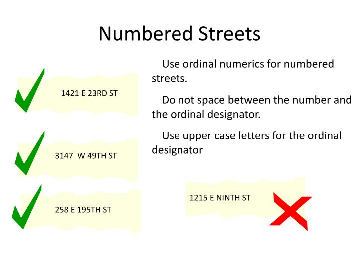 Numbered streets