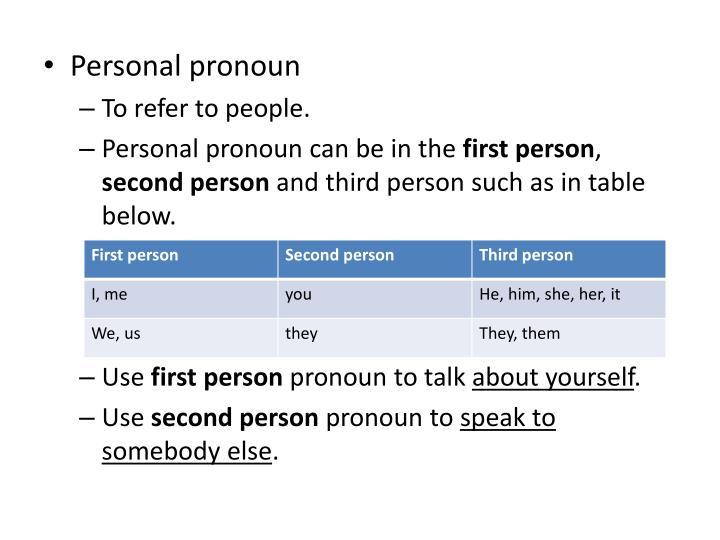 Personal pronoun