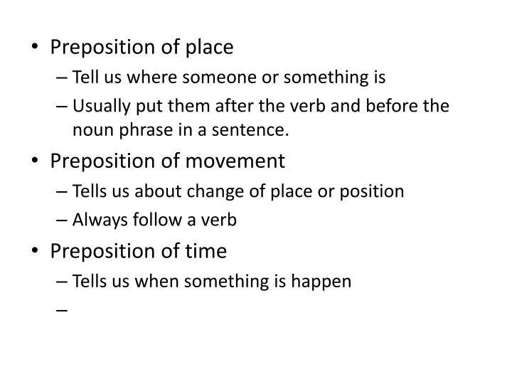 Preposition of place