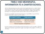 timely and meaningful information to a charter school