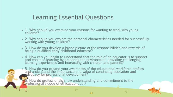 Learning essential questions