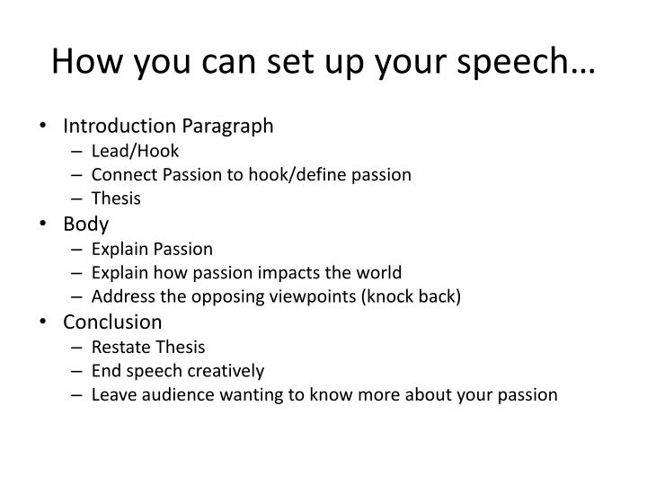 How you can set up your speech