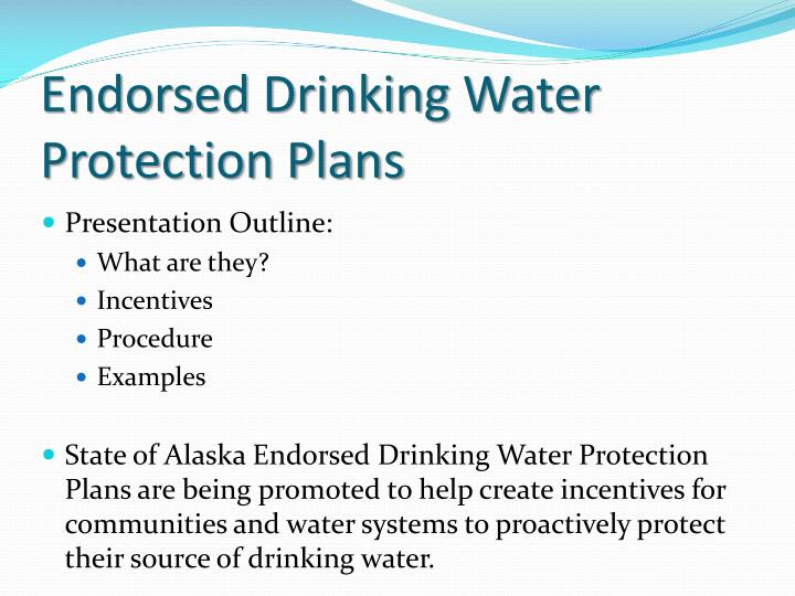 Endorsed drinking water protection plans