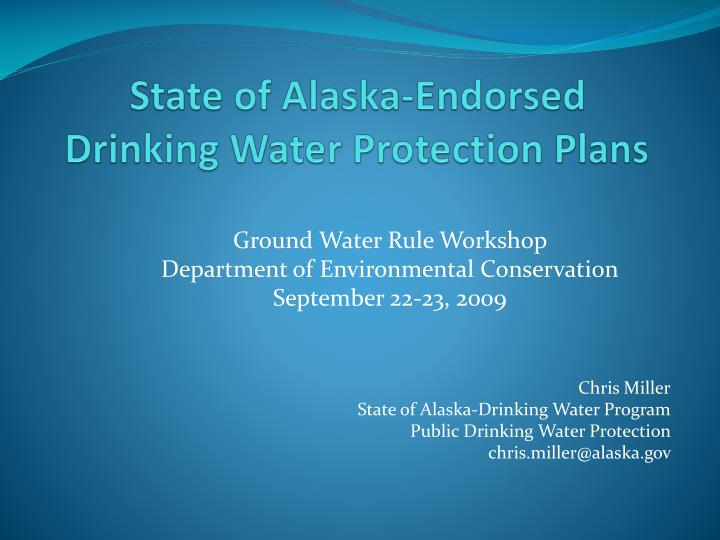 State of alaska endorsed drinking water protection plans