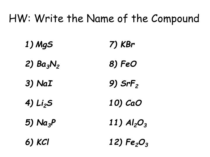 HW: Write the Name of the Compound