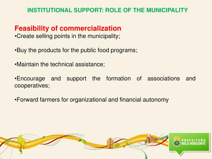 INSTITUTIONAL SUPPORT: ROLE OF THE MUNICIPALITY