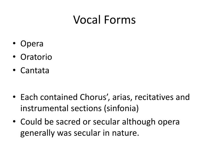 Vocal Forms