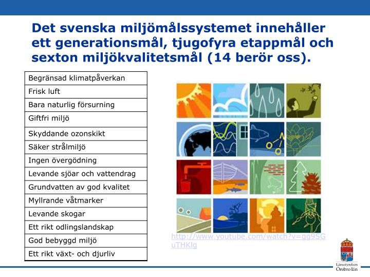 Det svenska miljömålssystemet innehåller ett generationsmål, tjugofyra etappmål och sexton