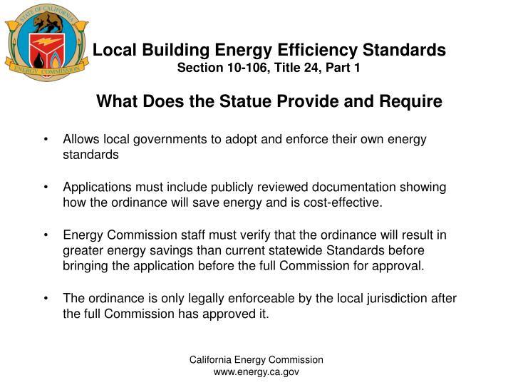 Local Building Energy Efficiency Standards