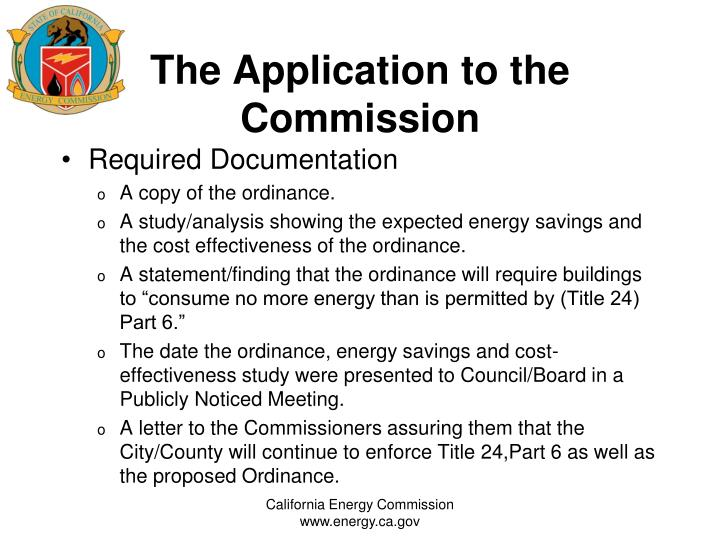 The Application to the Commission