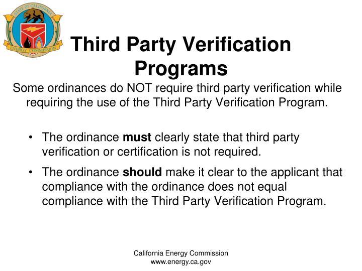 Third Party Verification Programs