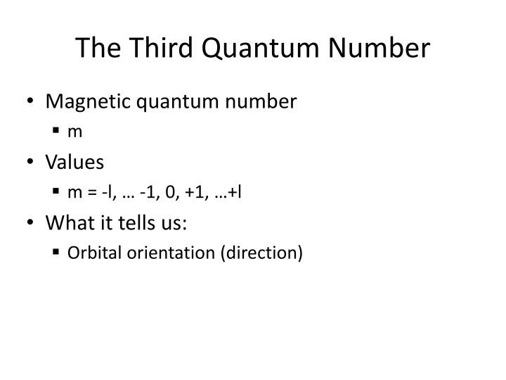 The Third Quantum Number