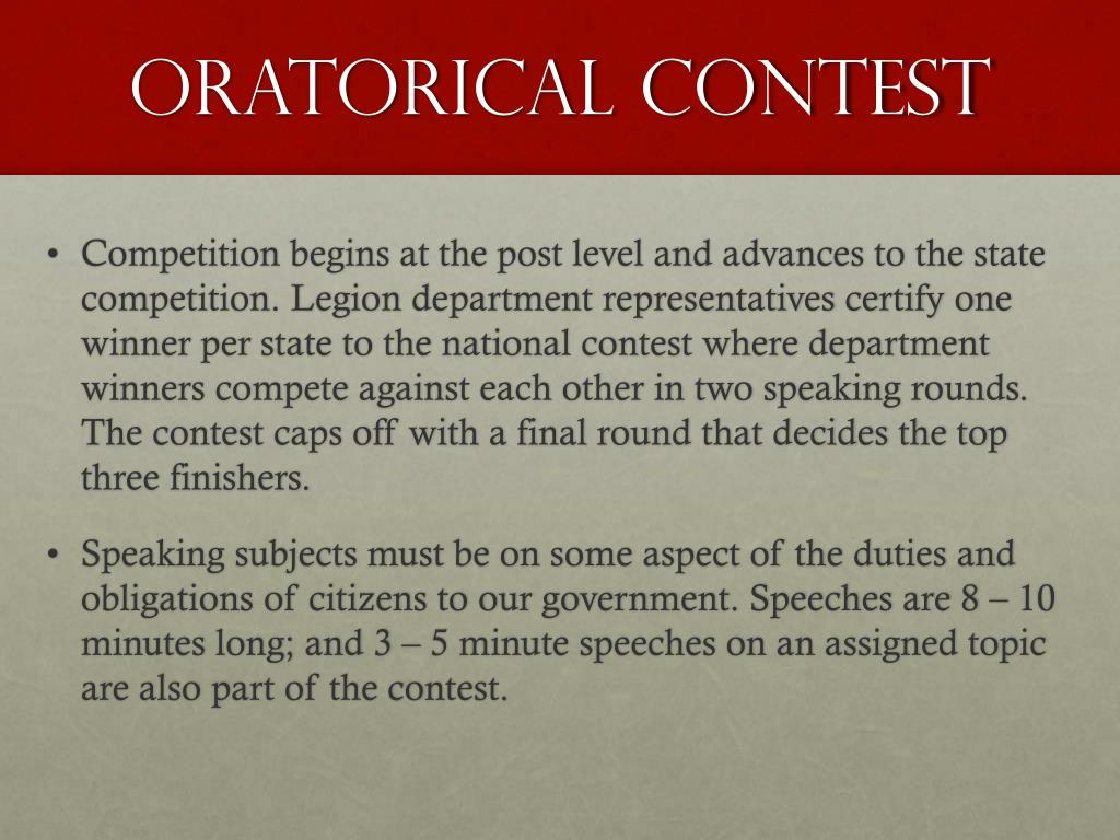 PPT - THE AMERICAN LEGION HIGH SCHOOL ORATORICAL CONTEST PowerPoint