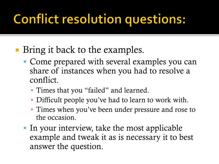 Conflict resolution questions: