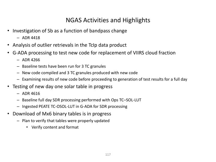 NGAS Activities and Highlights