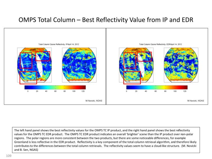 OMPS Total Column – Best Reflectivity Value from IP and EDR