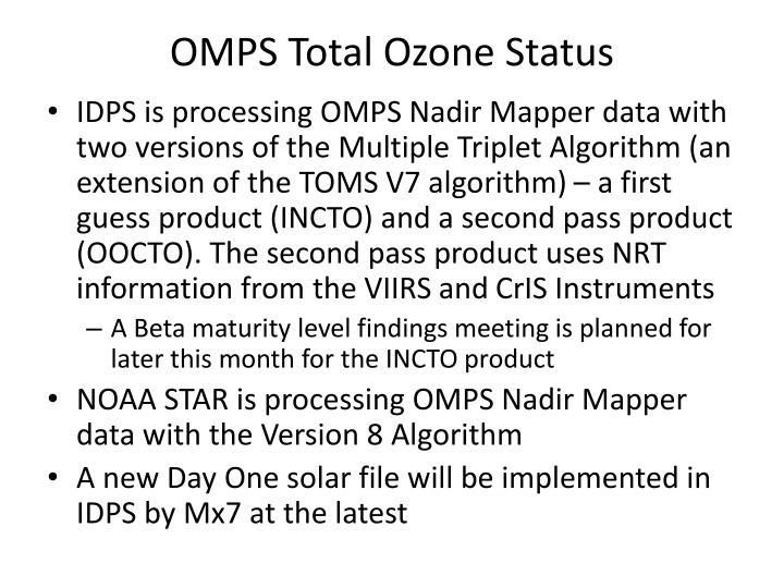 OMPS Total Ozone Status