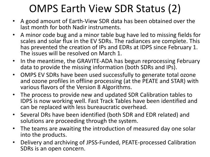 OMPS Earth View SDR Status (2)