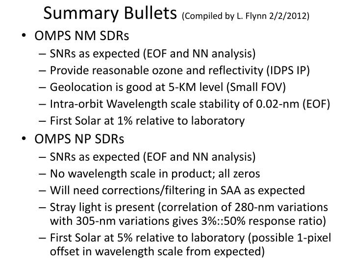 Summary Bullets