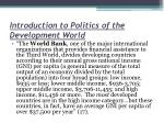 introduction to politics of the development world