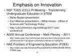 emphasis on innovation