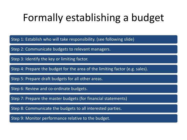 Formally establishing a budget