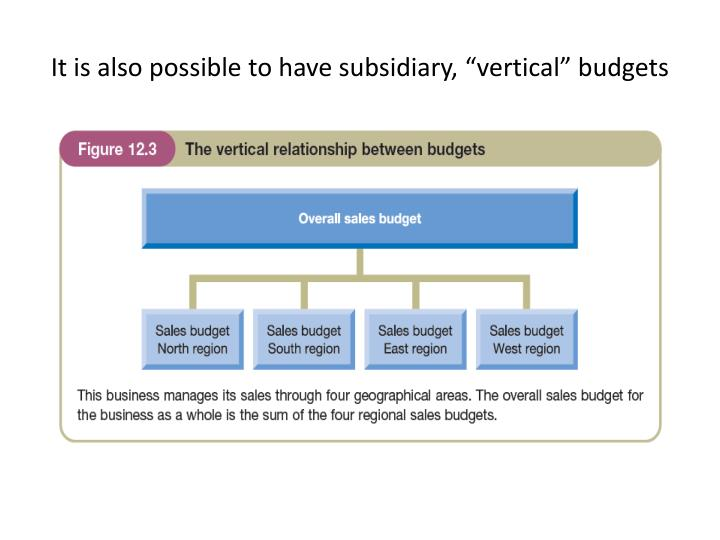 """It is also possible to have subsidiary, """"vertical"""" budgets"""