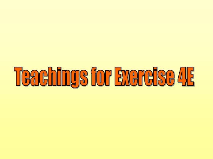 Teachings for Exercise