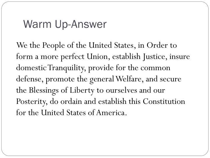 Warm up answer