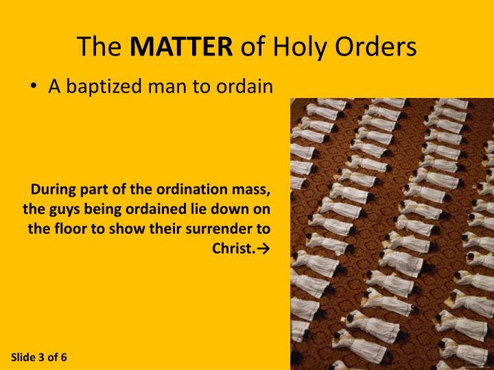 The matter of holy orders