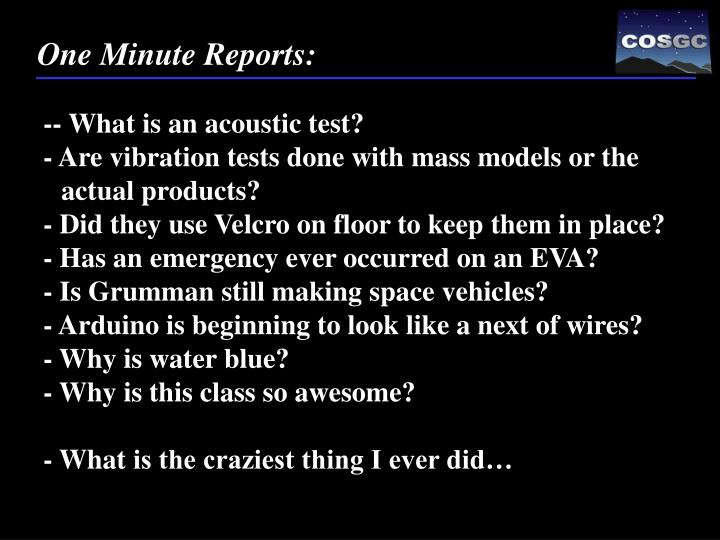 One Minute Reports: